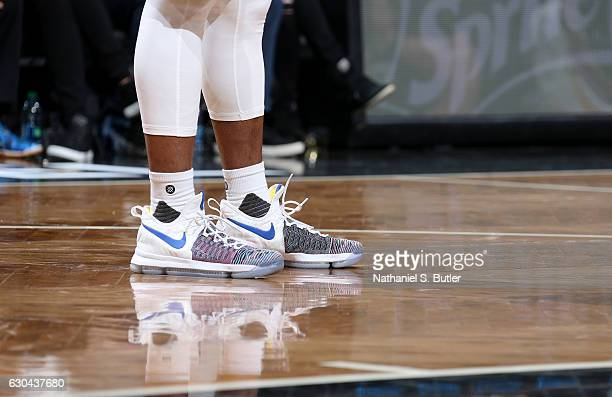 Ian Clark of the Golden State Warriors sneakers are seen during a game against the Brooklyn Nets on December 22 2016 at Barclays Center in Brooklyn...