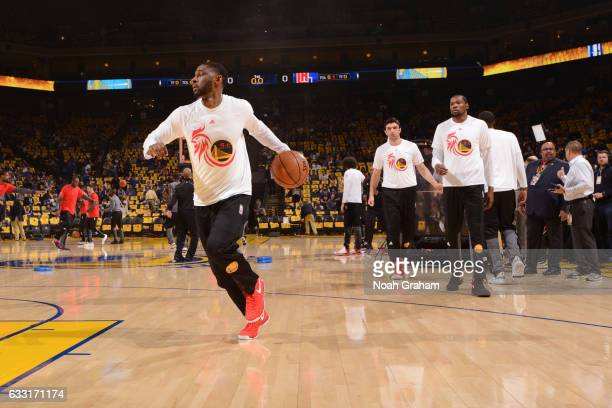 Ian Clark of the Golden State Warriors warms up before the game against the Los Angeles Clippers on January 28 2017 at ORACLE Arena in Oakland...