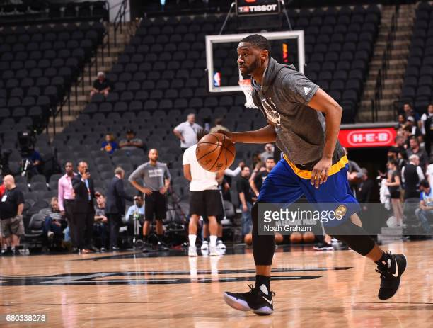Ian Clark of the Golden State Warriors warms up before the game against the San Antonio Spurs on March 29 2017 at ATT Center in San Antonio Texas...
