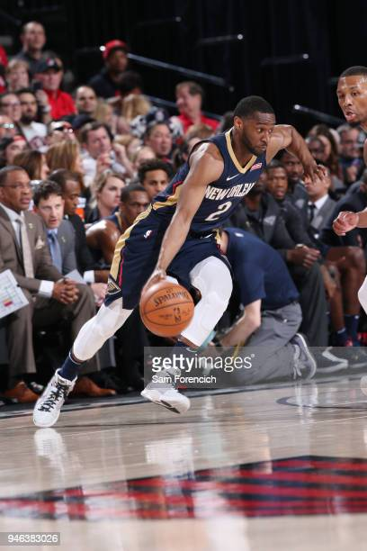 Ian Clark of the New Orleans Pelicans dribbles the ball during the game against the Portland Trail Blazers in Game One of Round One of the 2018 NBA...