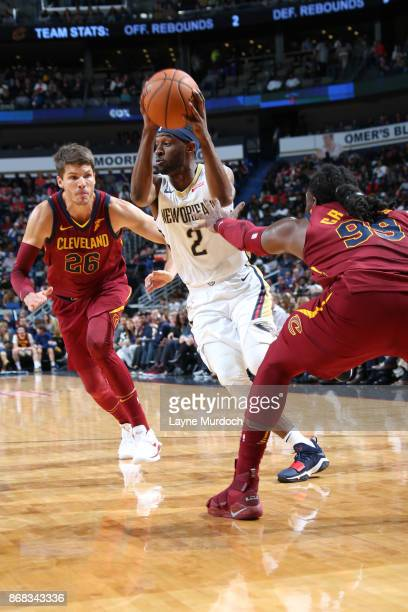Ian Clark of the New Orleans Pelicans drives to the basket against the Cleveland Cavaliers on October 28 2017 at the Smoothie King Center in New...
