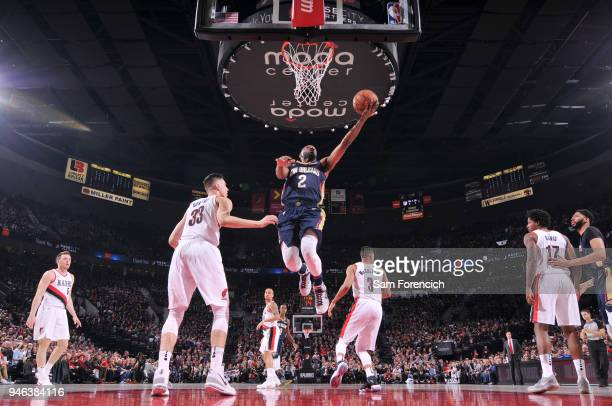 Ian Clark of the New Orleans Pelicans drives to the basket during the game against the Portland Trail Blazers in Game One of the Western Conference...