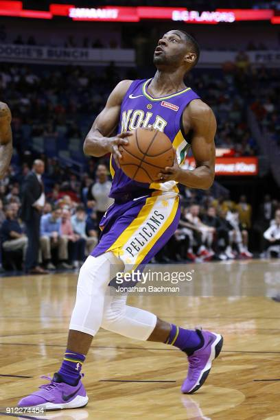 Ian Clark of the New Orleans Pelicans drives with the ball druing the first half against the LA Clippers at the Smoothie King Center on January 28...