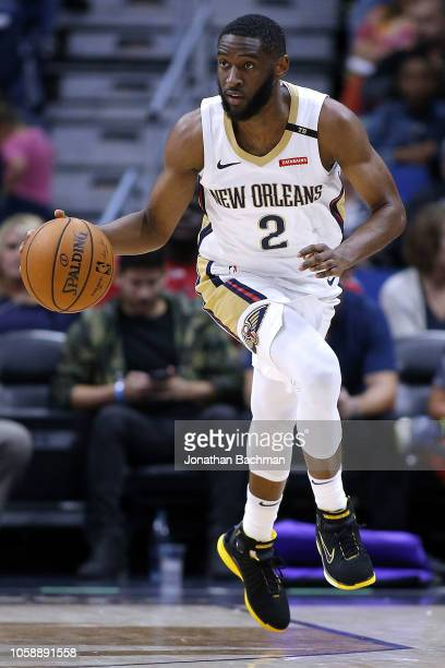 Ian Clark of the New Orleans Pelicans drives with the ball during a game against the LA Clippers at the Smoothie King Center on October 23 2018 in...