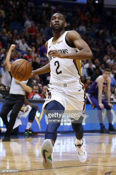 Ian Clark of the New Orleans Pelicans drives with the ball during the second half against the Phoenix Suns at the Smoothie King Center on February 26...