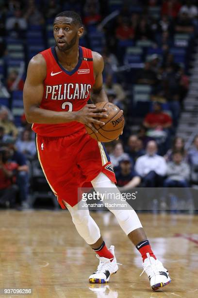 Ian Clark of the New Orleans Pelicans drives with the ball during the first half against the Indiana Pacers at the Smoothie King Center on March 21...