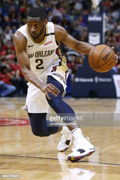 Ian Clark of the New Orleans Pelicans drives with the ball during the second half against the Portland Trail Blazers at the Smoothie King Center on...