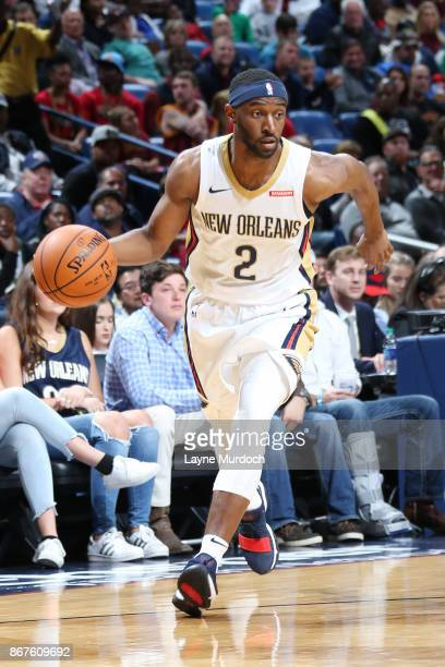 Ian Clark of the New Orleans Pelicans handles the ball against the Cleveland Cavaliers on October 28 2017 at the Smoothie King Center in New Orleans...