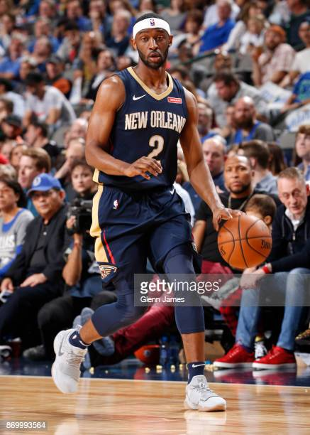 Ian Clark of the New Orleans Pelicans handles the ball against the Dallas Mavericks on November 3 2017 at the American Airlines Center in Dallas...