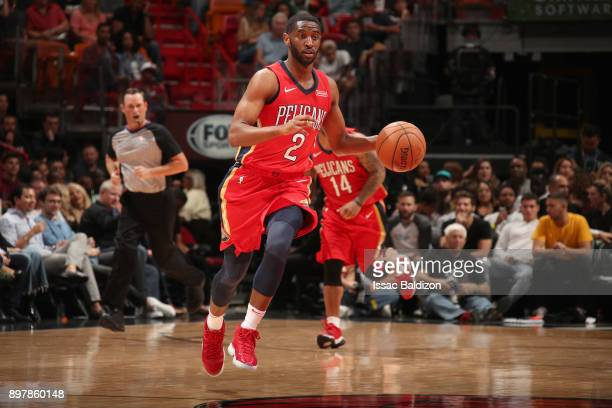 Ian Clark of the New Orleans Pelicans handles the ball against the Miami Heat on December 23 2017 at American Airlines Arena in Miami Florida NOTE TO...