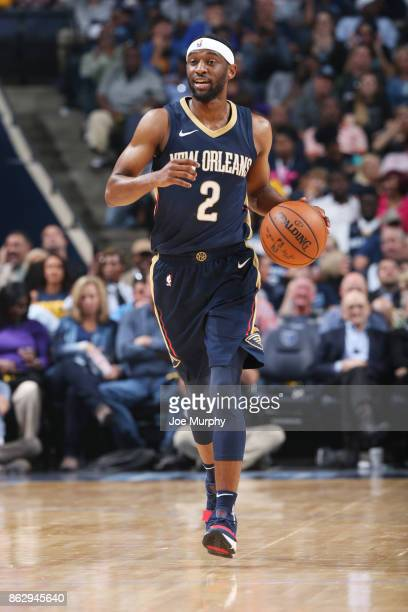 Ian Clark of the New Orleans Pelicans handles the ball during the 201718 regular season game against the Memphis Grizzlies on October 18 2017 at...