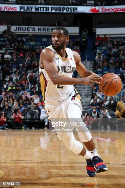 Ian Clark of the New Orleans Pelicans handles the ball during the game against the San Antonio Spurs on November 22 2017 at Smoothie King Center in...