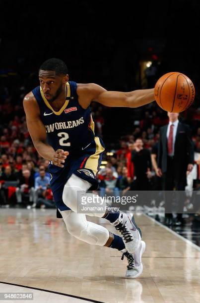 Ian Clark of the New Orleans Pelicans in action against the Portland Trail Blazers during Game Two of the Western Conference Quarterfinals during the...