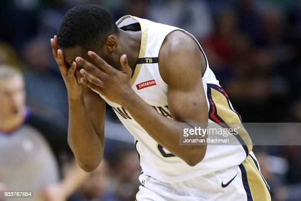 Ian Clark of the New Orleans Pelicans reacts after missing a shot during the first half against the Boston Celtics at the Smoothie King Center on...