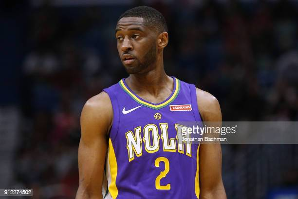 Ian Clark of the New Orleans Pelicans reacts druing the first half against the LA Clippers at the Smoothie King Center on January 28 2018 in New...