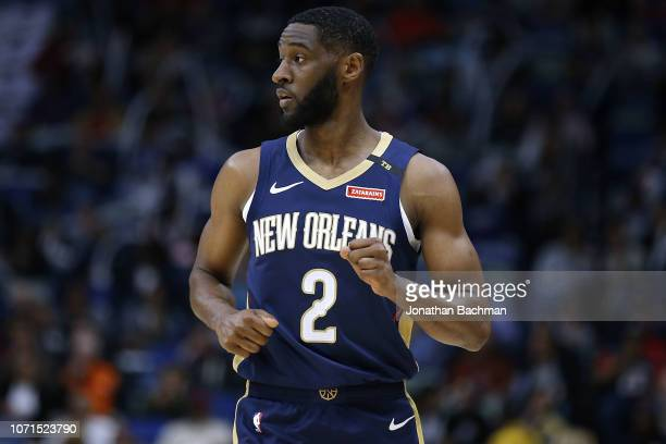 Ian Clark of the New Orleans Pelicans reacts during a game against the New York Knicks at the Smoothie King Center on November 16 2018 in New Orleans...