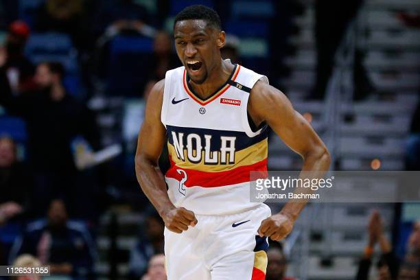 Ian Clark of the New Orleans Pelicans reacts during a game against the Denver Nuggets at the Smoothie King Center on January 30 2019 in New Orleans...