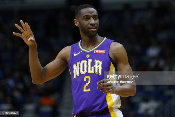 Ian Clark of the New Orleans Pelicans reacts during the first half against the Sacramento Kings at the Smoothie King Center on January 30 2018 in New...