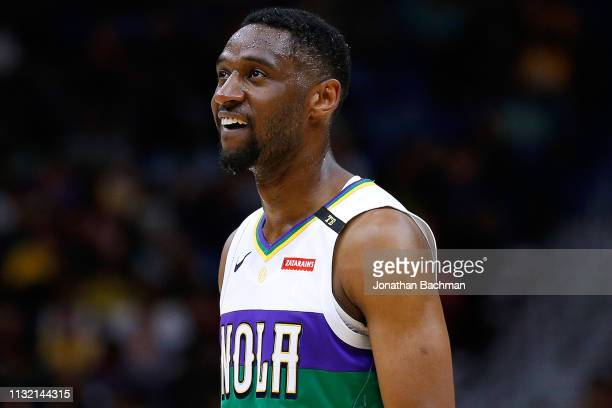 Ian Clark of the New Orleans Pelicans reacts during the second half against the Los Angeles Lakers at the Smoothie King Center on February 23 2019 in...