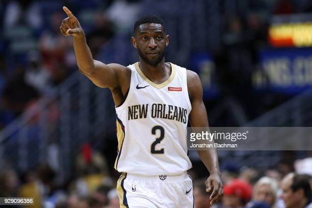 Ian Clark of the New Orleans Pelicans reacts during the second half against the Phoenix Suns at the Smoothie King Center on February 26 2018 in New...