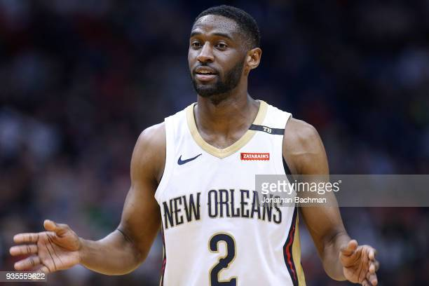 Ian Clark of the New Orleans Pelicans reacts during the second half against the Boston Celtics at the Smoothie King Center on March 18 2018 in New...