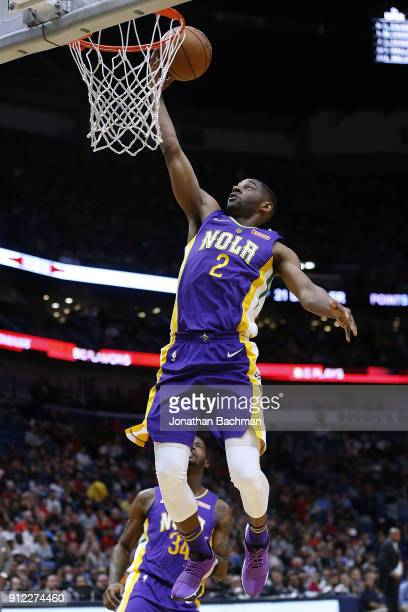 Ian Clark of the New Orleans Pelicans scores druing the first half against the LA Clippers at the Smoothie King Center on January 28 2018 in New...