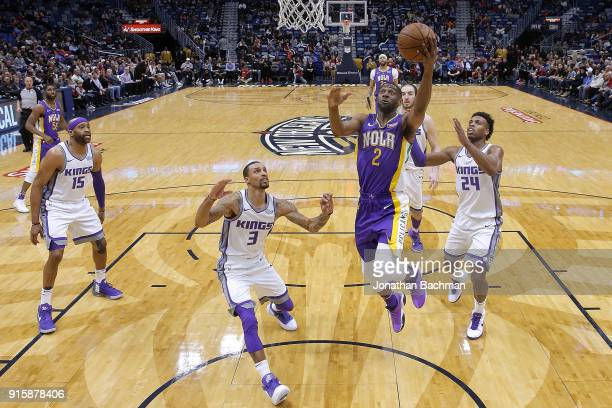 Ian Clark of the New Orleans Pelicans shoots against George Hill of the Sacramento Kings during the second half at the Smoothie King Center on...