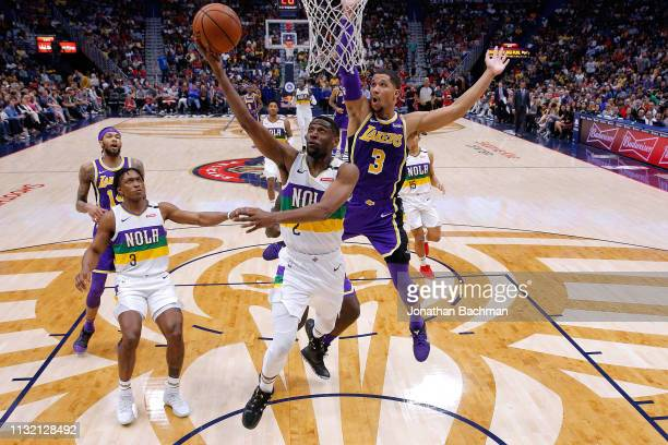 Ian Clark of the New Orleans Pelicans shoots against Josh Hart of the Los Angeles Lakers during the second half at the Smoothie King Center on...