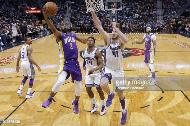 Ian Clark of the New Orleans Pelicans shoots against Kosta Koufos of the Sacramento Kings during the second half at the Smoothie King Center on...
