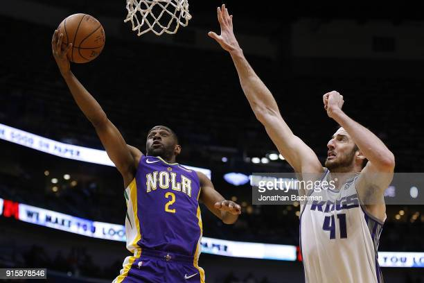 Ian Clark of the New Orleans Pelicans shoots against Kosta Koufos of the Sacramento Kings during the first half at the Smoothie King Center on...
