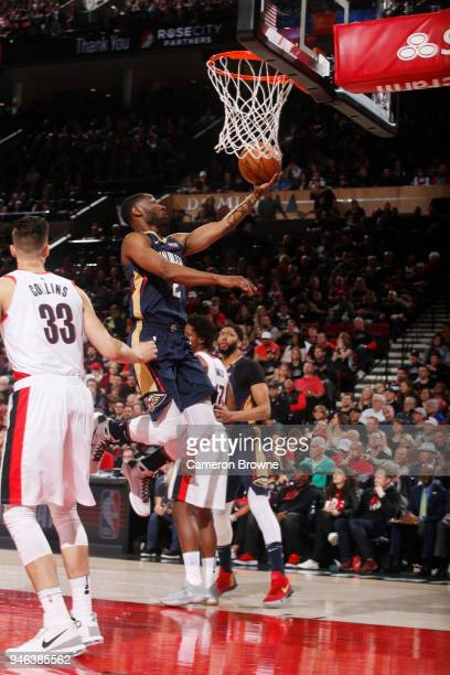 Ian Clark of the New Orleans Pelicans shoots the ball against the Portland Trail Blazers in game one of round one of the 2018 NBA Playoffs on April...