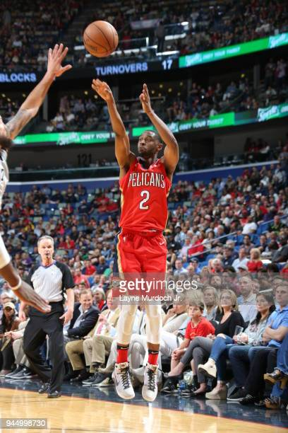 Ian Clark of the New Orleans Pelicans shoots the ball against the San Antonio Spurs on April 11 2018 at Smoothie King Center in New Orleans Louisiana...