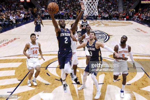Ian Clark of the New Orleans Pelicans shoots the ball during a game against the New York Knicks at the Smoothie King Center on November 16 2018 in...