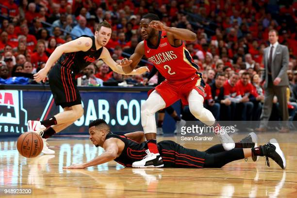 Ian Clark of the New Orleans Pelicans steals the ball from CJ McCollum of the Portland Trail Blazers during Game 3 of the Western Conference playoffs...
