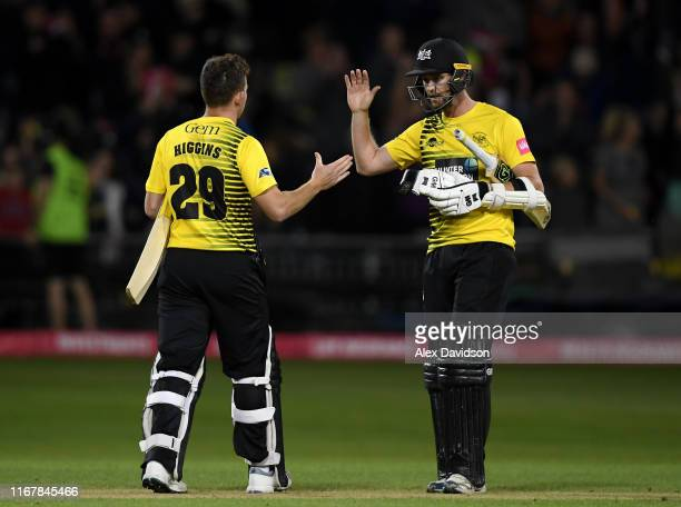 Ian Cockbain and Ryan Higgins of Gloucestershire celebrate victory during the Vitality Blast match between Gloucestershire and Hampshire at Bristol...