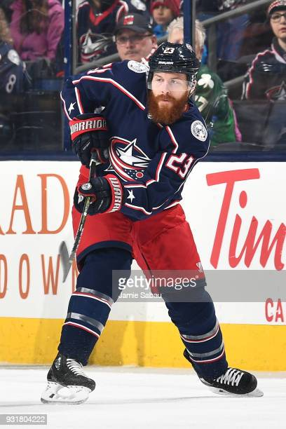 Ian Cole of the Columbus Blue Jackets skates against the Montreal Canadiens on March 12 2018 at Nationwide Arena in Columbus Ohio