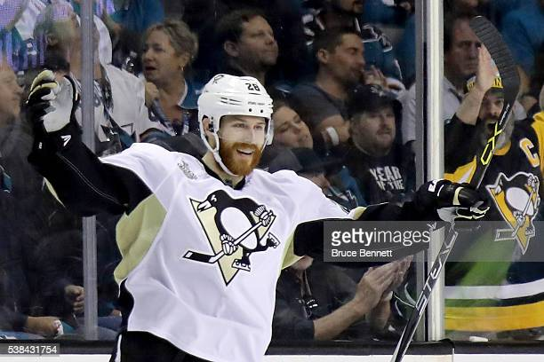 Ian Cole of the Pittsburgh Penguins celebrates after scoring against the San Jose Sharks in the first period of Game Four of the 2016 NHL Stanley Cup...