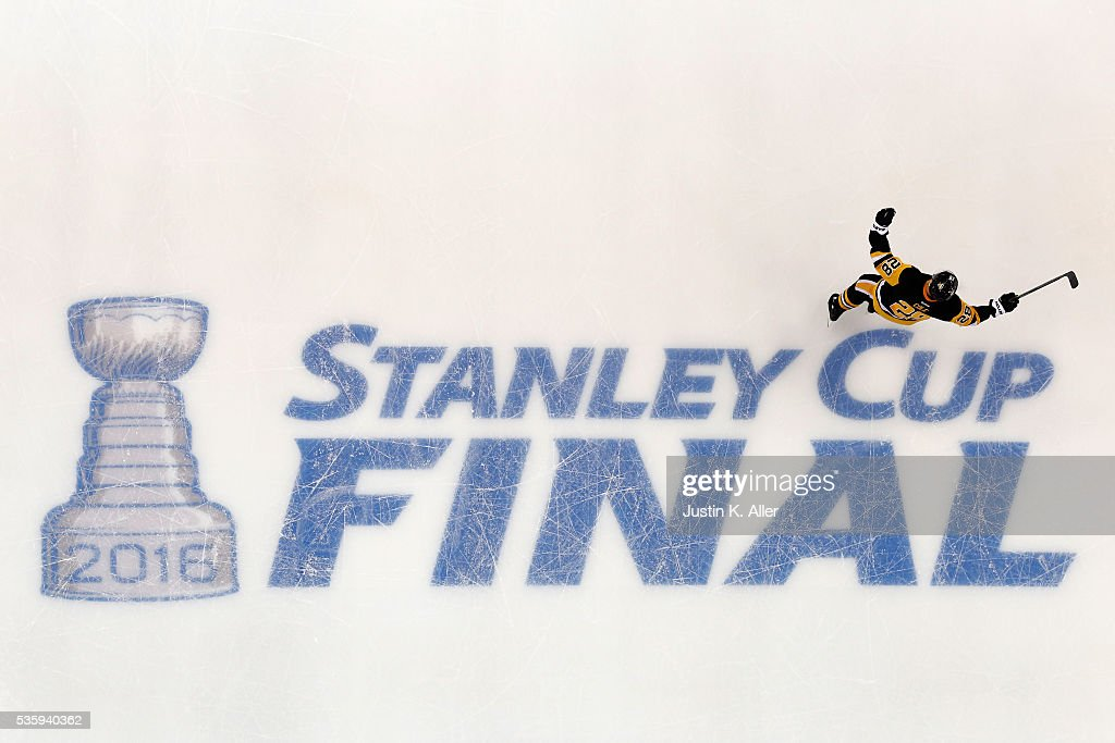 Ian Cole #28 of the Pittsburgh Penguins celebrates during the first period against the San Jose Sharks in Game One of the 2016 NHL Stanley Cup Final at Consol Energy Center on May 30, 2016 in Pittsburgh, Pennsylvania.