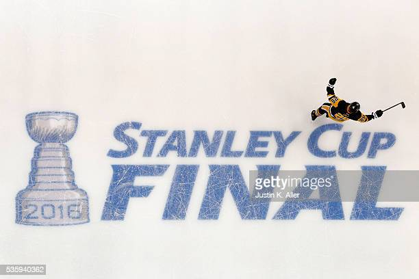 Ian Cole of the Pittsburgh Penguins celebrates during the first period against the San Jose Sharks in Game One of the 2016 NHL Stanley Cup Final at...