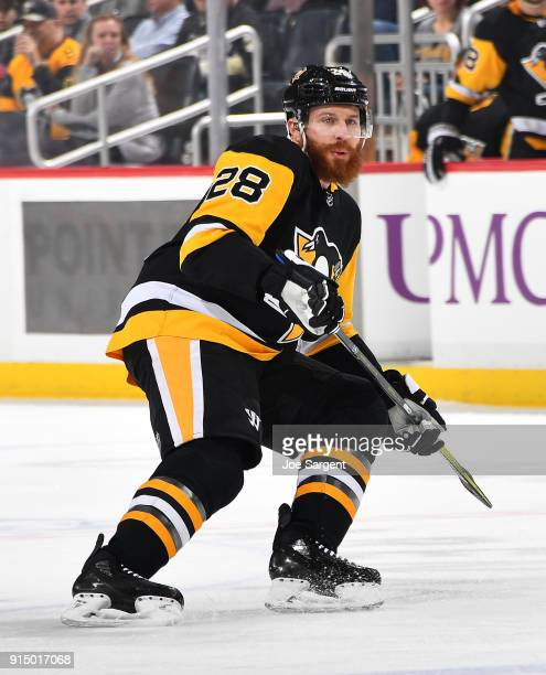 Ian Cole of the Pittsburgh Penguins skates against the Washington Capitals at PPG Paints Arena on February 2 2018 in Pittsburgh Pennsylvania