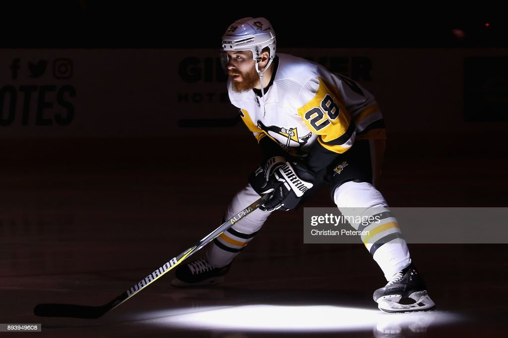 Ian Cole #28 of the Pittsburgh Penguins skates on the ice before the start of the NHL game against the Arizona Coyotes at Gila River Arena on December 16, 2017 in Glendale, Arizona.