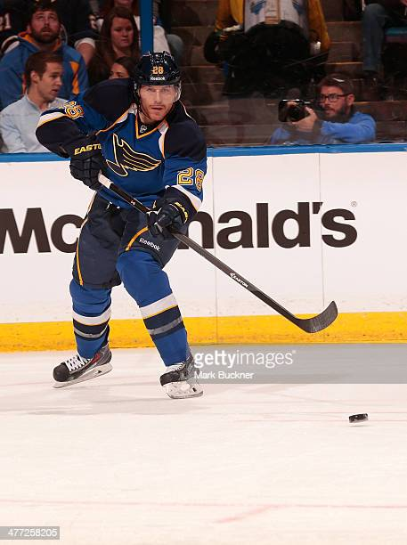 Ian Cole of the St Louis Blues skates against the Tampa Bay Lightning in an NHL game on March 4 2014 at Scottrade Center in St Louis Missouri