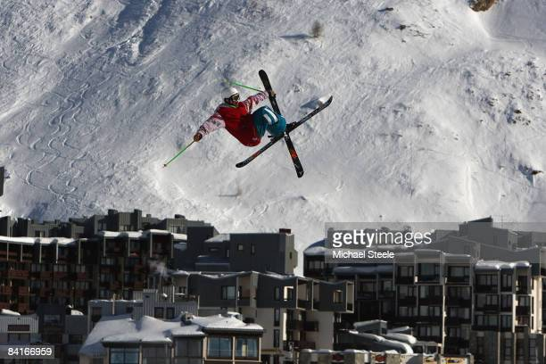 Ian Cosco of Canada during the Big Air practice on Day One of the Tignes Airwaves Freestyle Ski event at Tignes Val Claret on January 4 2009 in...