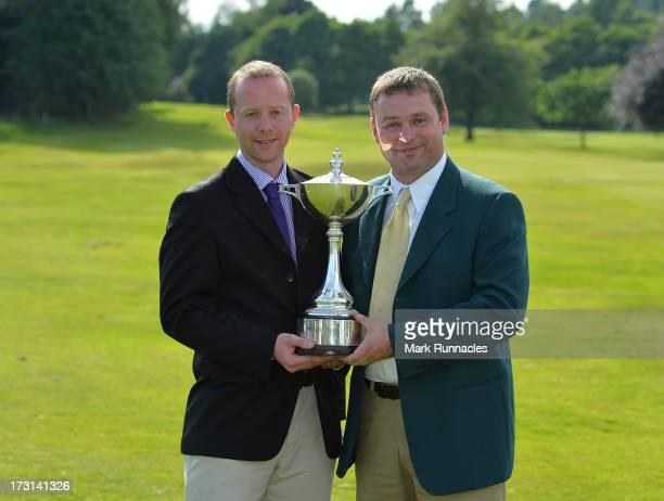 Ian Cowper and Stuart Morrison of Tain Golf Club pose after winning the Lombard Trophy Regional Qualifier at Crieff Golf Club on July 08 2013 in...