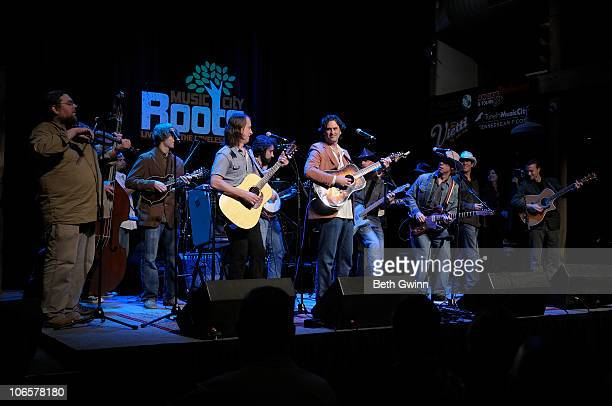 Ian Craft Dominick Leslie Nick Randolph Davey Jones Peter Cooper Shawn Davis Phil Hurley Dave Phenicie Missy Raines and Jared Green playing at the...