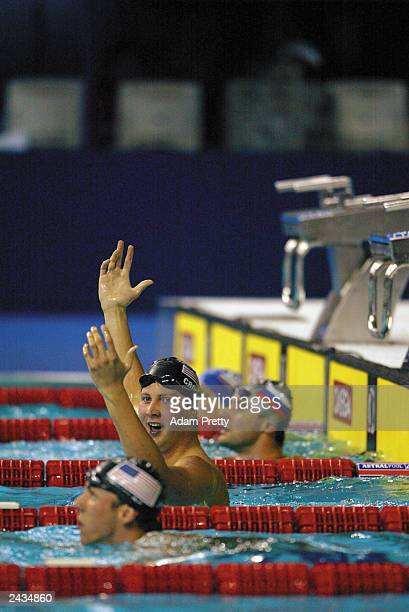 Ian Crocker of the USA celebrates setting a new world record and winning gold in the Men's 100m Butterfly Final during the 10th Fina World Swimming...