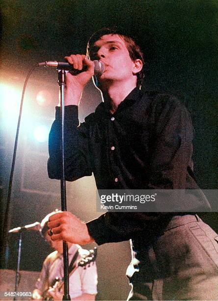 Ian Curtis and Bernard Sumner performing with English rock group Joy Division at Mountford Hall Liverpool University 2nd October 1979