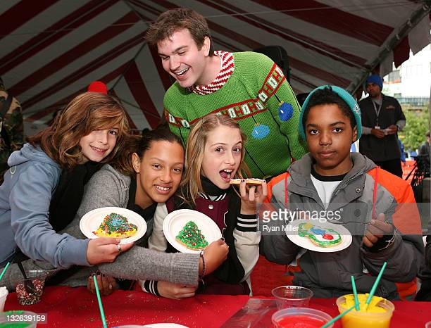 Ian Delaney looks over the cookie frosting as the 12 Days of 'Arthur Christmas' kicks off across the country highlighted by the Living Billboard on...