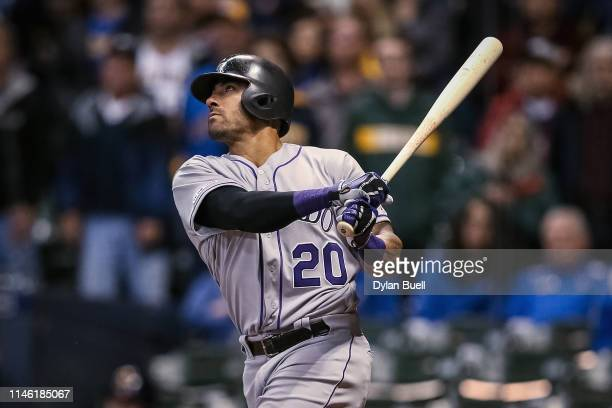 Ian Desmond of the Colorado Rockies hits a home run in the ninth inning against the Milwaukee Brewers at Miller Park on April 30, 2019 in Milwaukee,...