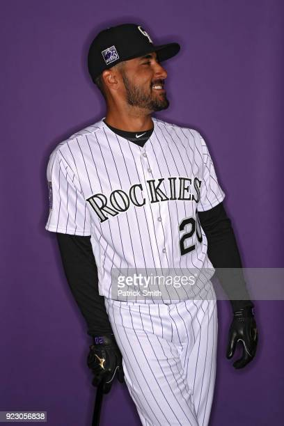 Ian Desmond of the Colorado Rockies poses on photo day during MLB Spring Training at Salt River Fields at Talking Stick on February 22 2018 in...